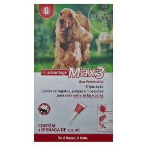 Antipulgas e Carrapatos Advantage Max3 2,5ml para Cães entre 10 e 25k